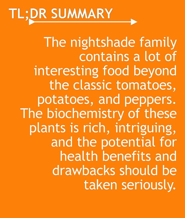 TL;DR The nightshade family contains a lot of interesting food beyond the classic tomatoes, potatoes, and peppers. The biochemistry of these plants is rich, intriguing, and the potential for health benefits and drawbacks should be taken seriously.