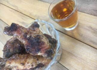 no nightshade chicken wings with a bourbon BBQ glaze